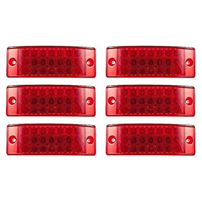 [ALL STAR TRUCK PARTS] Qty 6 - Red 21 LED Side Marker Clearance Light Rectangle 12V Truck Trailer Camper: Automotive