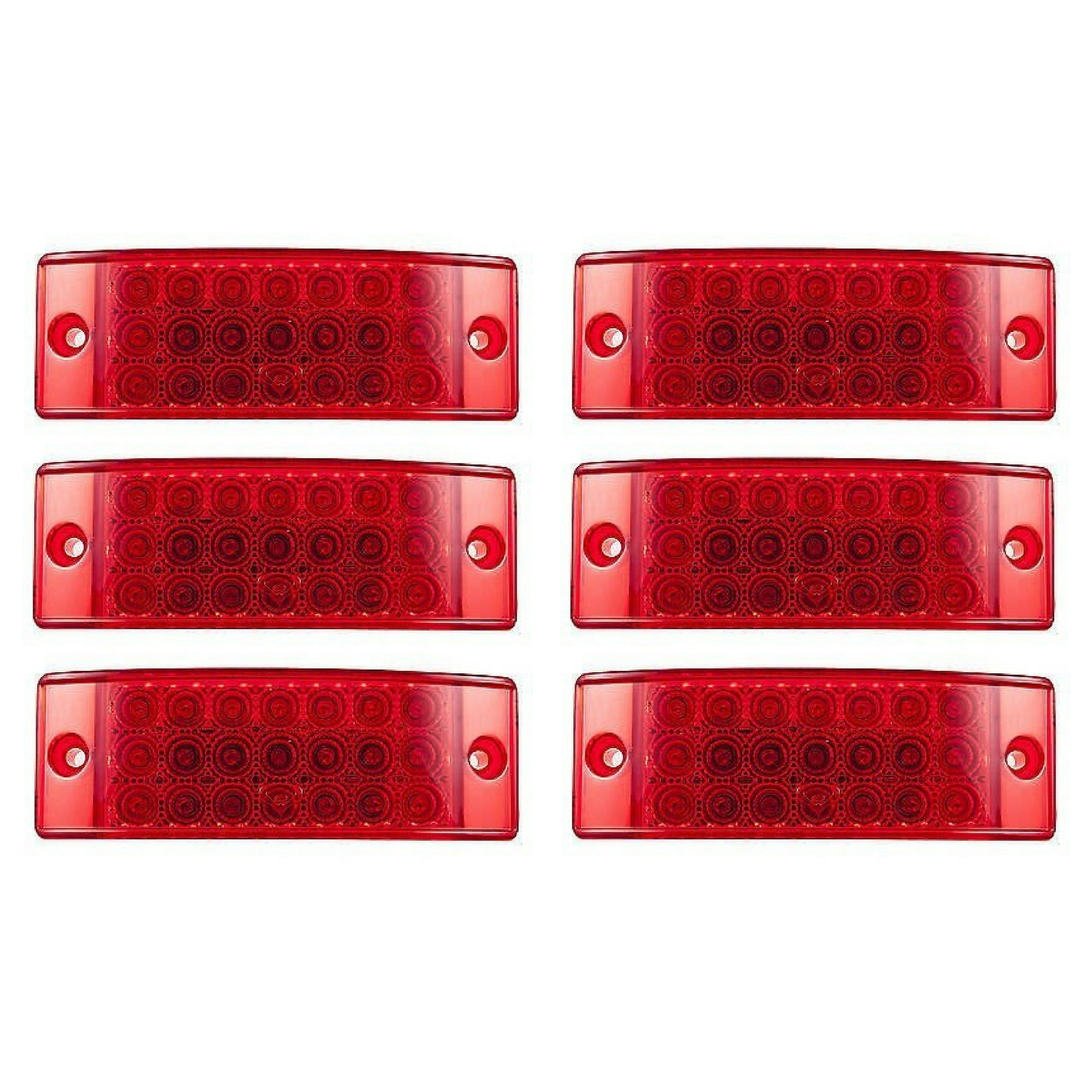 [ALL STAR TRUCK PARTS] Qty 6 - Red 21 LED Side Marker Clearance Light Rectangle 12V Truck Trailer Camper