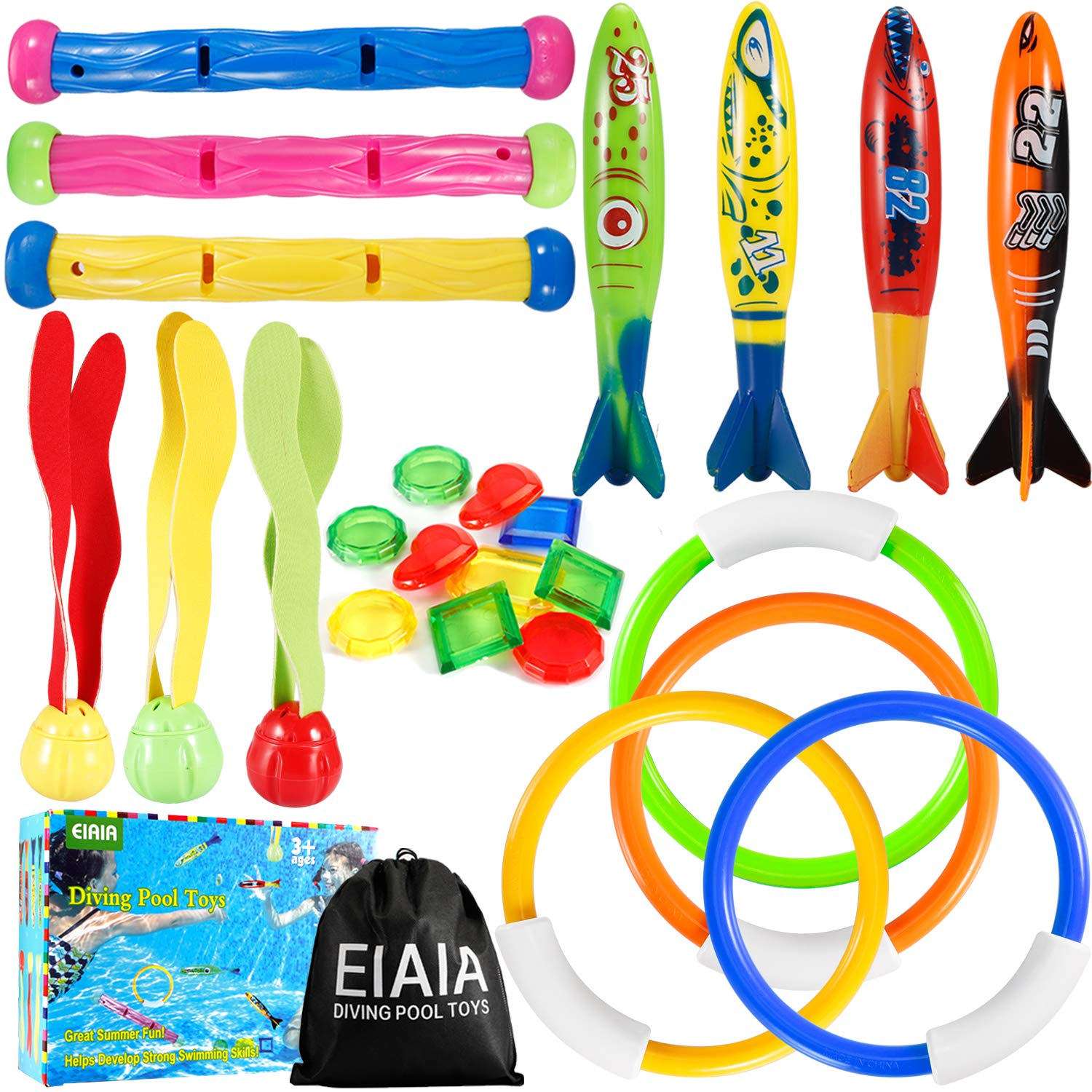 EIAIA Pool Toys for Kids - Under Water Diving Toys Swim Toys Set, 24 Pack Includes 4 Diving Rings, 3 Diving Sticks, 3 Diving Toy Balls, 4 Torpedo Bandits, 10 Pirate Treasures by EIAIA