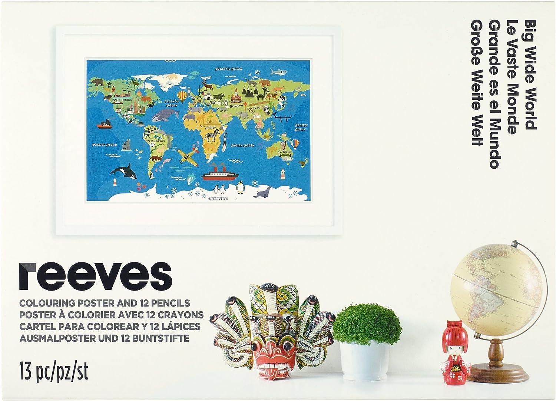 Reeves - Póster para colorear Mapa del mundo: Amazon.es: Hogar
