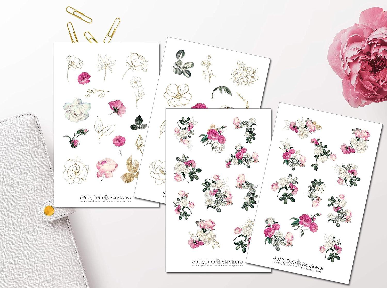 Sticker Natur Goldeffekt Sticker Rose Rosengarten Sticker Set Journal Sticker Sticker Blumen Florale Sticker Planersticker