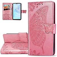 HMTECH Galaxy S10 Plus Case Samsung Galaxy S10 Plus Cover Reliëf Vlinder Bloem PU Lederen Flip Notebook Portemonnee Case…