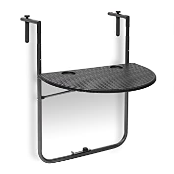 a3da4634c1223 Relaxdays Table de balcon pliante pliable appoint table suspendue rabattable  BASTIAN rotin hauteur réglable l x P