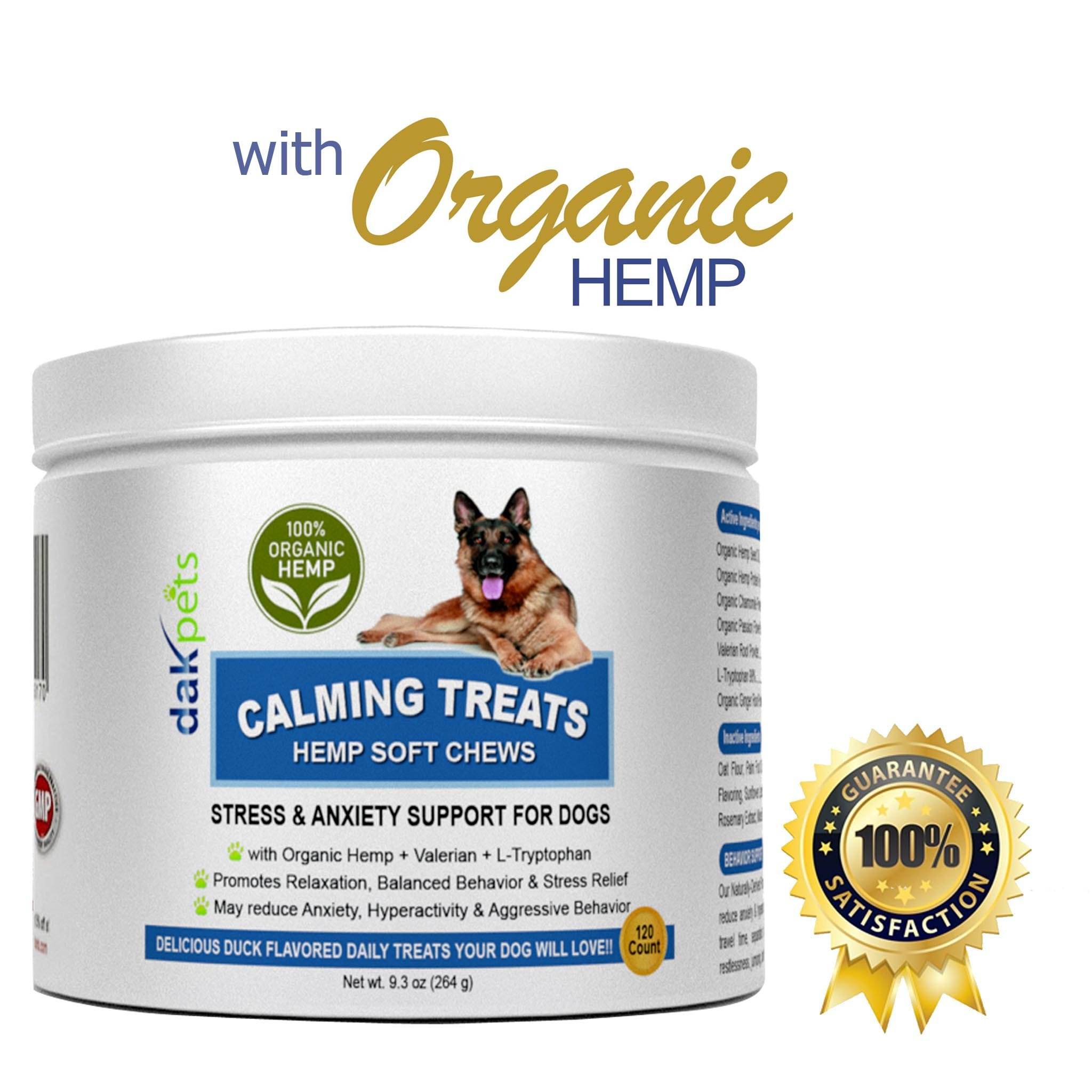 Calming Treats Dogs-Soft Chews w/Organic Hemp,Valerian Root & L Tryptophan Dog Anxiety Relief. All-Natural Dog Treats Barking,Chewing,Storms,Travel & Hyper Activity-Duck flavour-120 Count