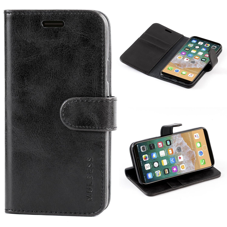 Custodia iPhone X, Cover iPhone X, Mulbess Custodia In Pelle Con Supporto / Chiusura Magnetica per Apple iPhone X (5.8 inch) Custodia Pelle, Vintage Marrone
