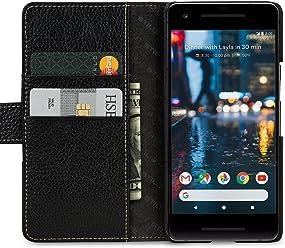 StilGut Talis Case con Tasca per Carte, Custodia in Pelle Cover per Google Pixel 2. Chiusura a Libro Flip-Case in Vera Pelle Fatta a Mano, pratiche Tasche per Carte di Credito, Nero