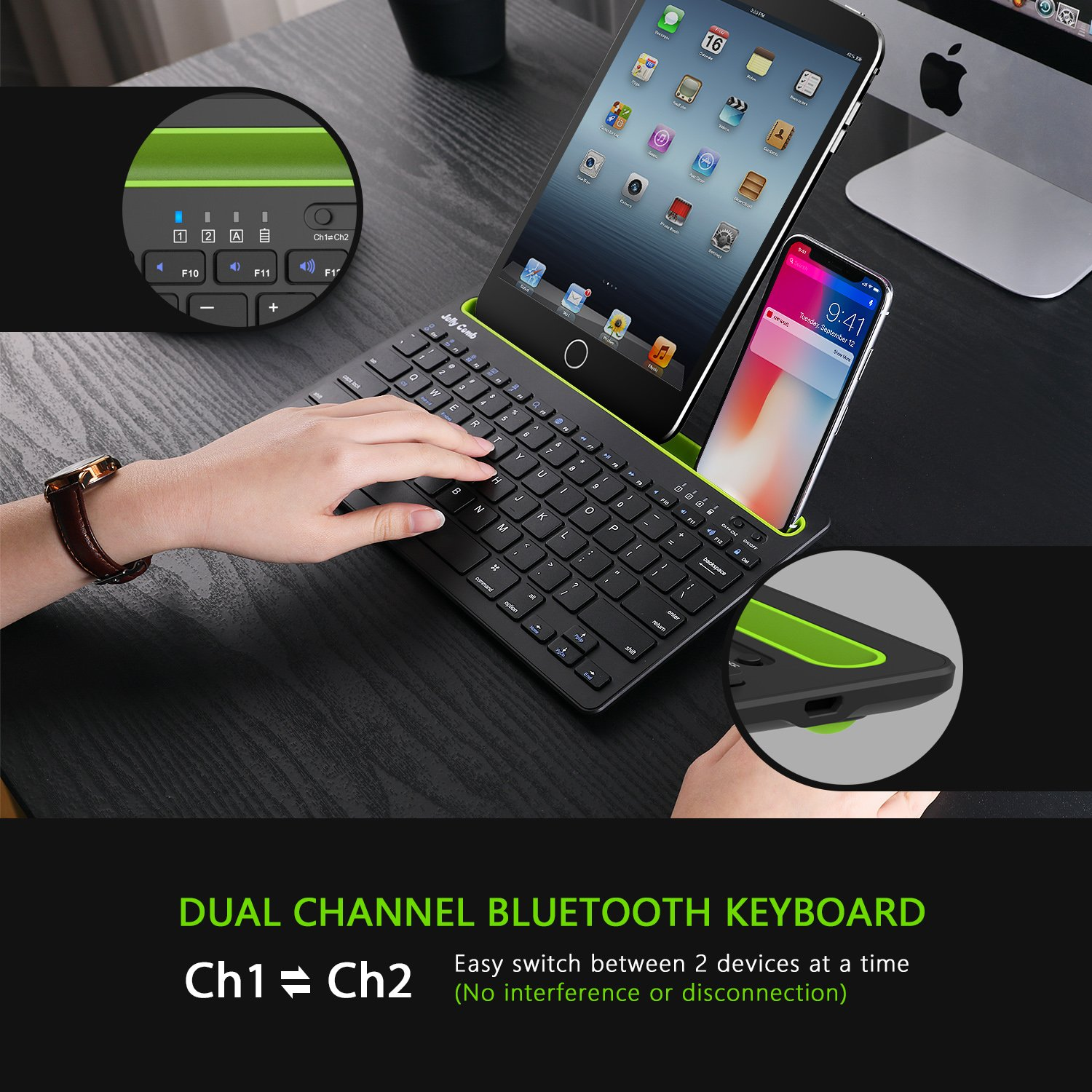 Bluetooth keyboard, Jelly Comb BK230 Dual Channel Multi-device Universal Wireless Bluetooth Keyboard Rechargeable with Sturdy Stand for Tablet Smartphone PC Windows Android iOS Mac (Black and Green) by Jelly Comb (Image #3)
