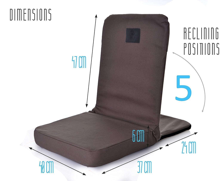 Omlove Plegable y reclinable Silla Yoga Meditación Piso, Asiento con la Ayuda Trasera, Negro