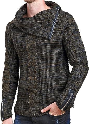 Uomo Knit Maglione Maglie Maglioni invernale collo a scialle di cotone