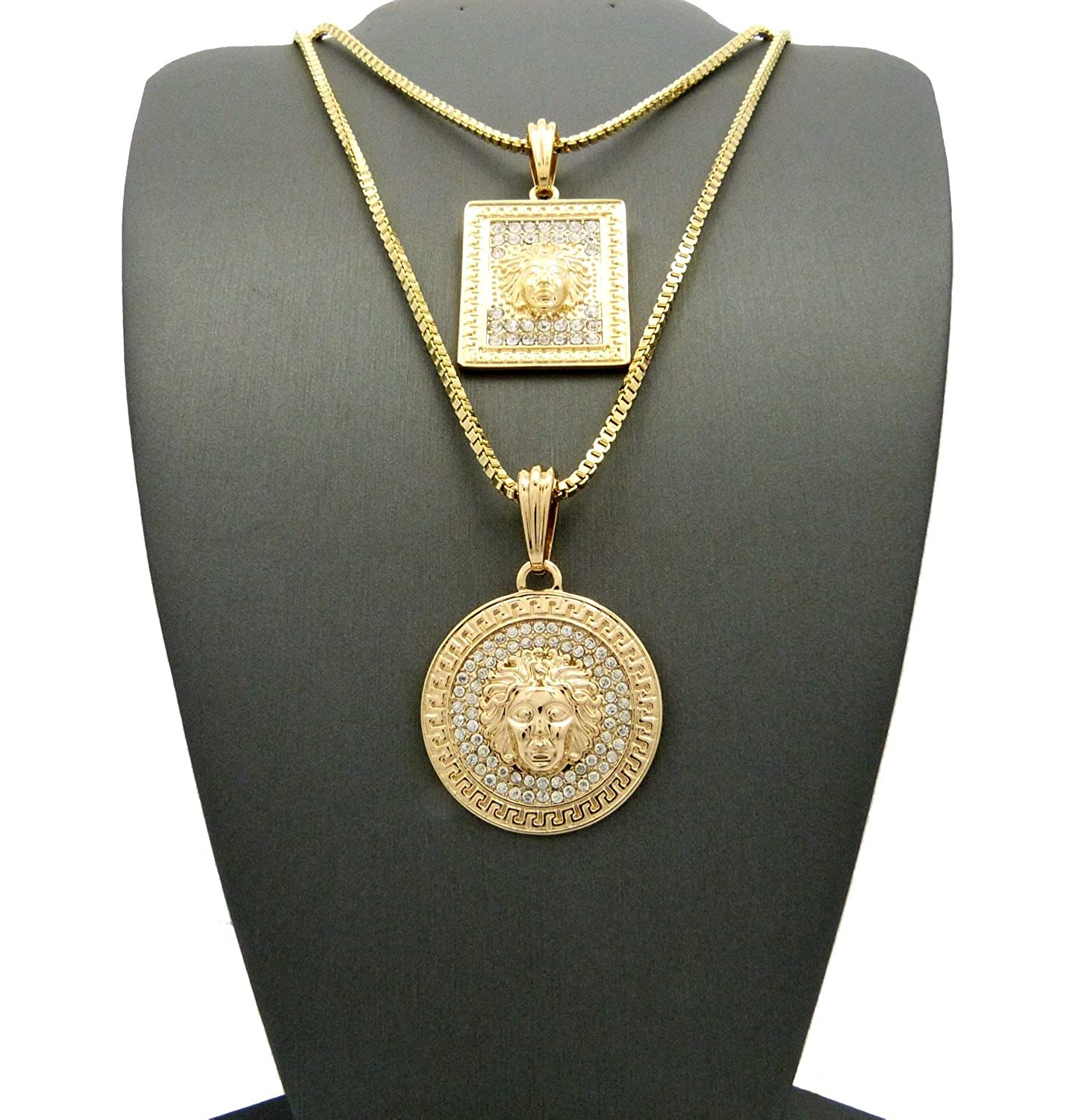 metallic octagon silver versace pendant in medusa men jewelry necklace and lyst gallery gold for
