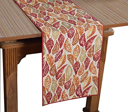 Bilberry Furnishing By Preeti Grover 100% Cotton Multicolor Leaf Printed Table Runner (TR_24) - (Table Runner Size 14x72)