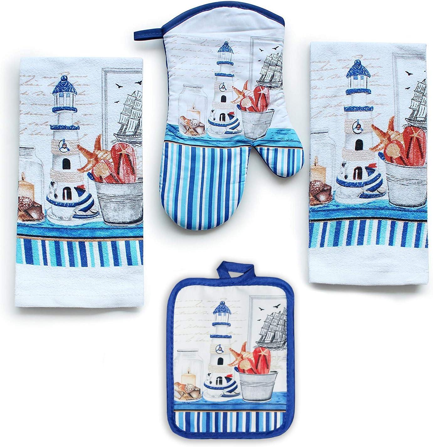 Lobyn Value Packs 4 Pack Kitchen Linens (Lighthouse)