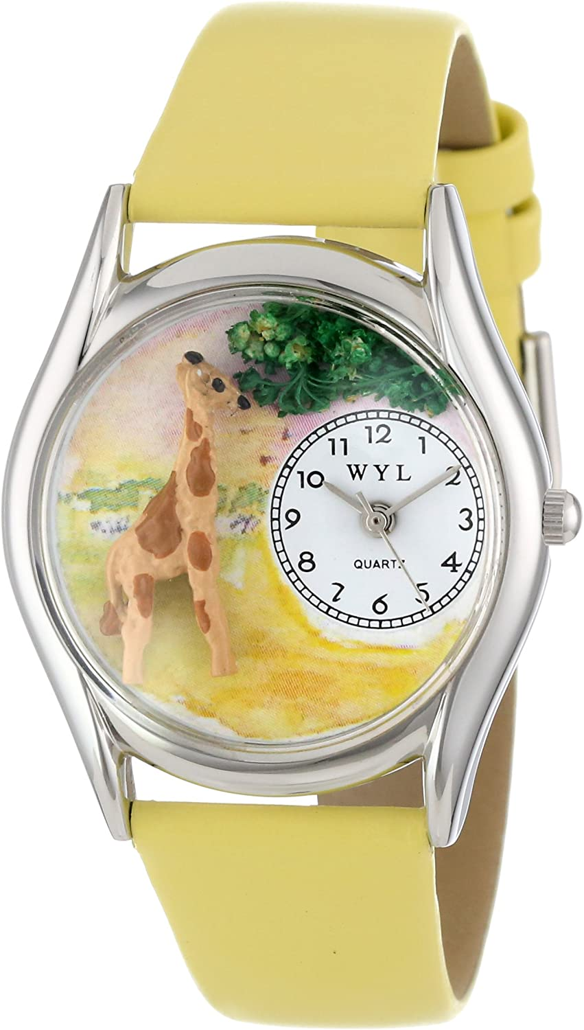 Whimsical Watches Women s S0150004 Giraffe Yellow Leather Watch