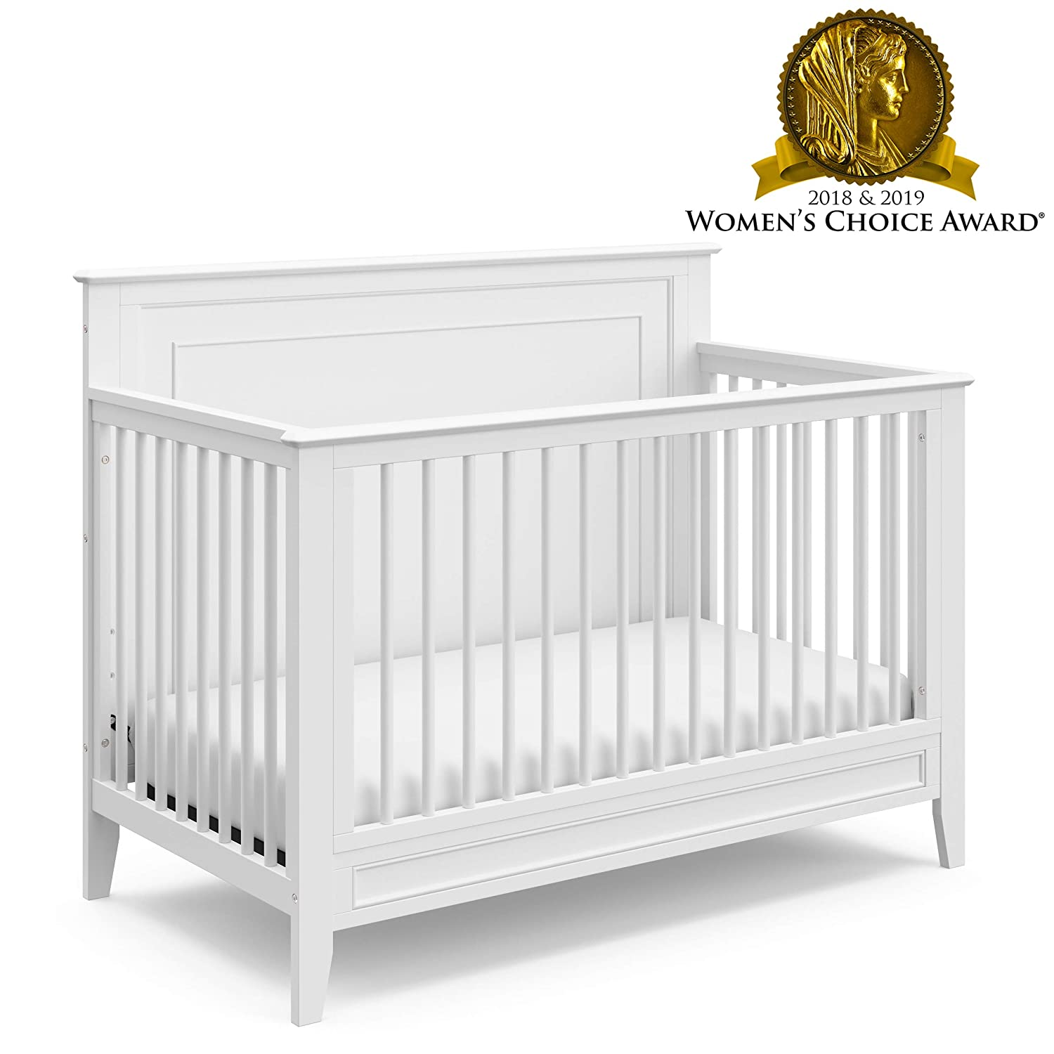 Storkcraft Solstice 4-in-1 Convertible Crib White – Easily Converts into Toddler Bed, Daybed, or Full-Size Bed