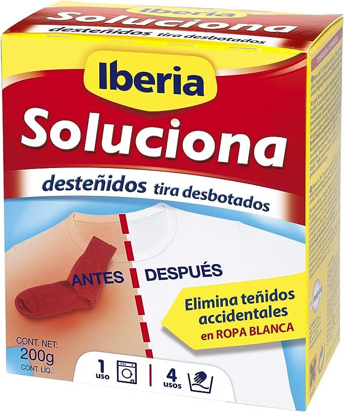 Iberia Soluciona- Elimina desteñidos accidentales en ropa blanca - 200 g - [Pack de 4]