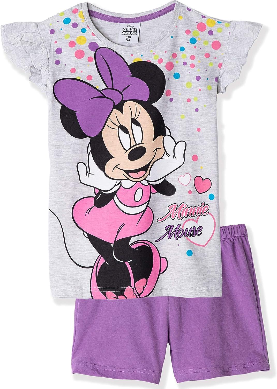 Pijama oficial de Minnie Mouse de manga corta para ni/ñas de 3 a 9 a/ños