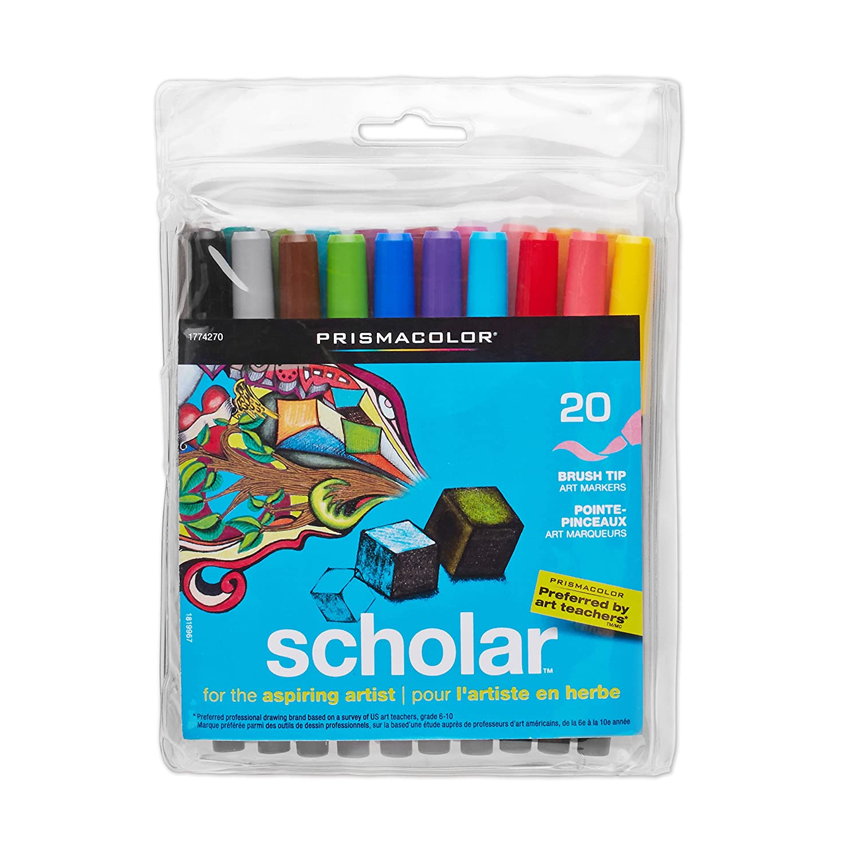 Prismacolor Scholar Art Markers, Brush Tip, Assorted, 20-Count