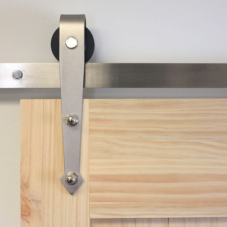 Homacer - Kit de herramientas para puerta corredera de una sola barra, 4 – 20 pies, diseño recto, color negro rústico con perchas de fuerza industrial, perfecto para garaje, armario, interior y
