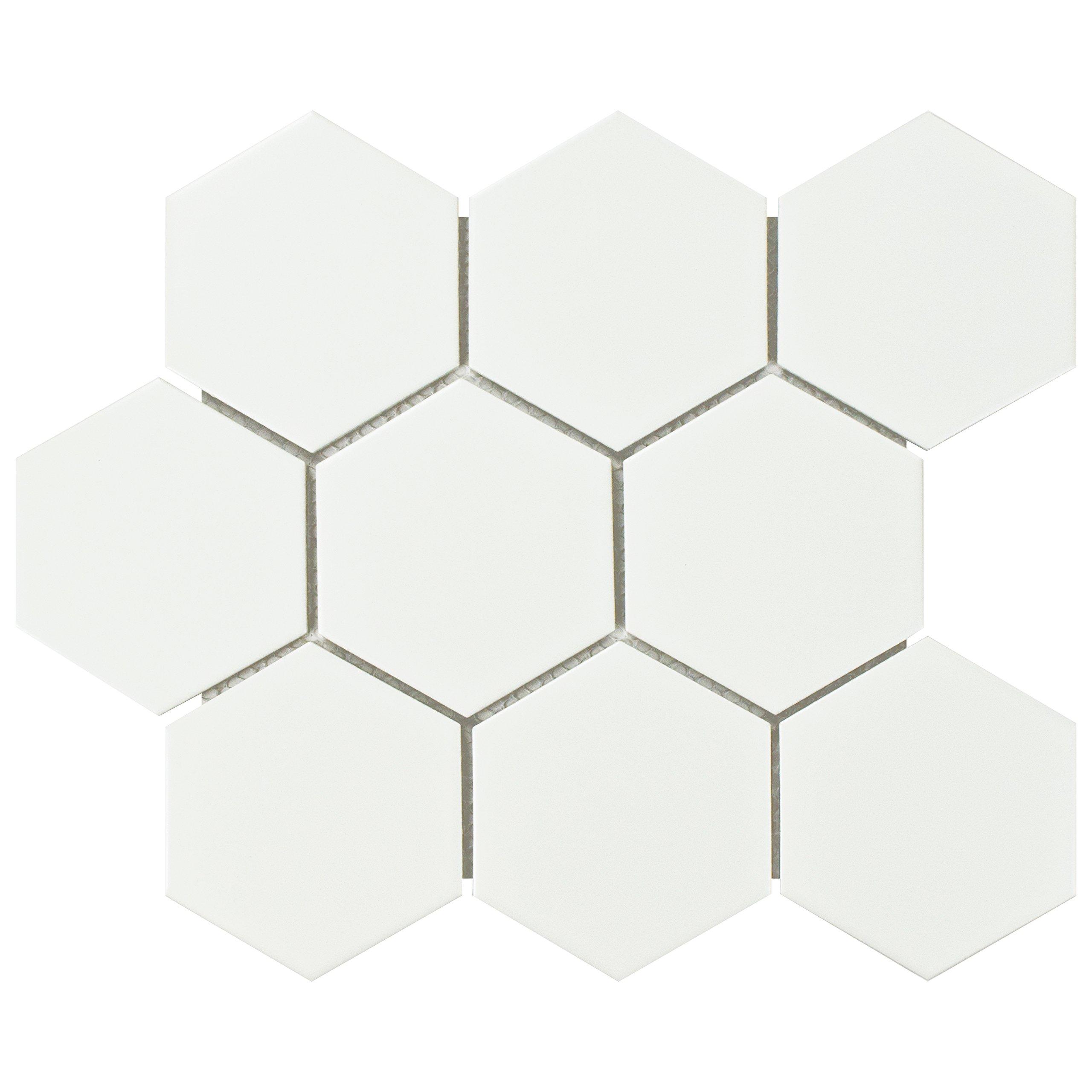 SomerTile FWRM4HMW Retro Super Hex Porcelain Mosaic Floor & Wall Tile, 10'' x 11.5'', Matte White, 10 Piece