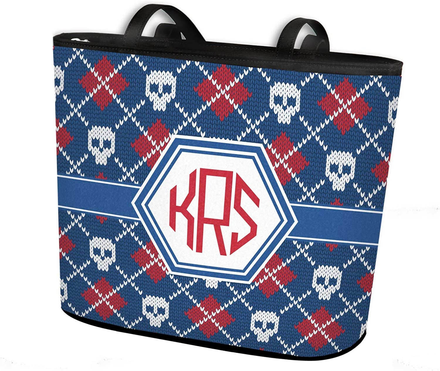 Knitted Argyle /& Skulls Bucket Tote w//Genuine Leather Trim Personalized Regular w//Front /& Back Design