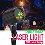 Laser Lights Christmas Projector Light Green & Red Laser Star Night Shower Motion Outdoor Laser Show with RF Remote Controller IP65 Waterproof Projector for Xmas, Holiday and Garden Decoration