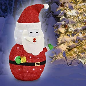 Lighted Christmas Santa Claus, 40-LED Lighted, Battery Operated Lawn Decoration (27 inches Tall)