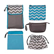 J.L. Childress Diaper Bag Organizer 5 Piece Set, Grey/Chevron