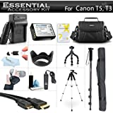 """Essential Accessory Kit For Canon EOS Rebel T5, T3, T6 Digital SLR Camera Includes Replacement LP-E10 Battery + AC/DC Charger + Case + Remote Switch + 57"""" Tripod + 10"""" Flexible Tripod + Monopod + More"""
