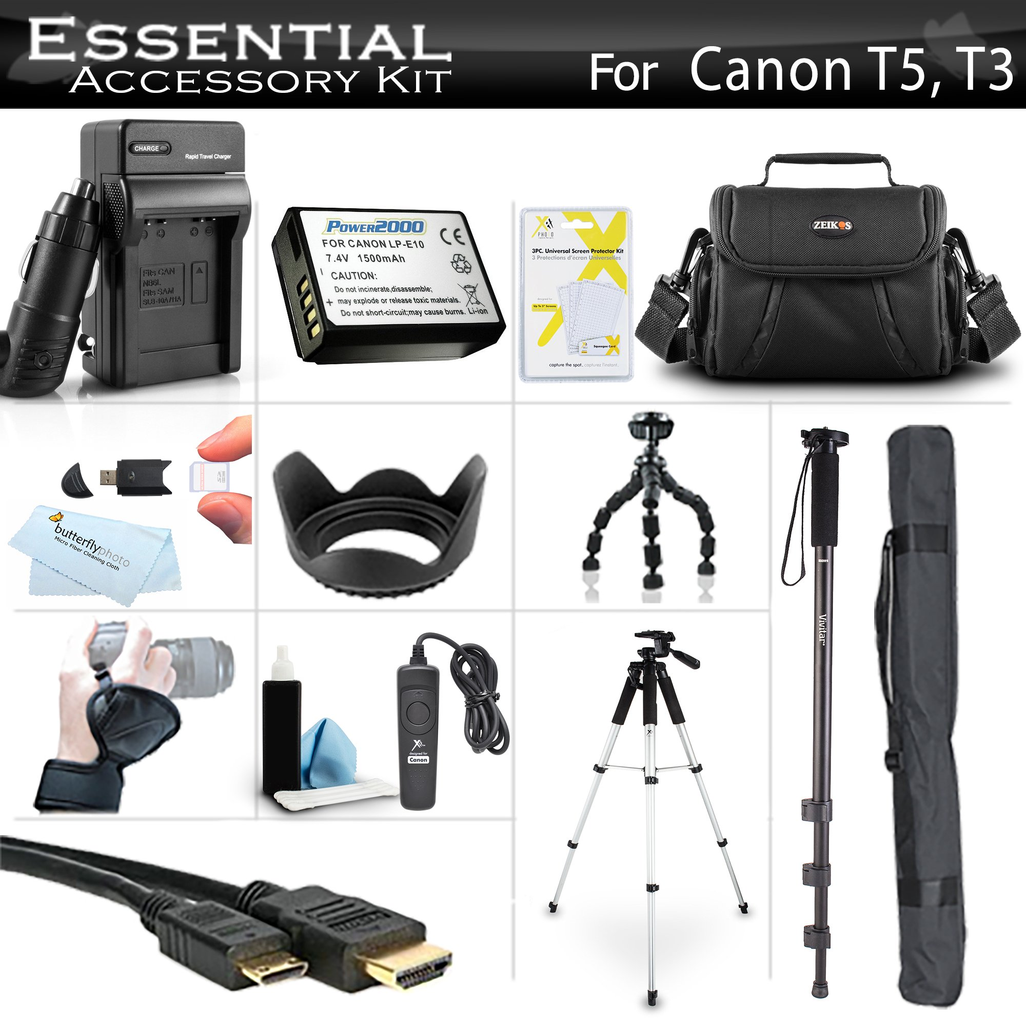 Essential Accessory Kit For Canon EOS Rebel T5, T3, T6 Digital SLR Camera Includes Replacement LP-E10 Battery + AC/DC Charger + Case + Remote Switch + 57 Tripod + 10 Flexible Tripod + Monopod + More