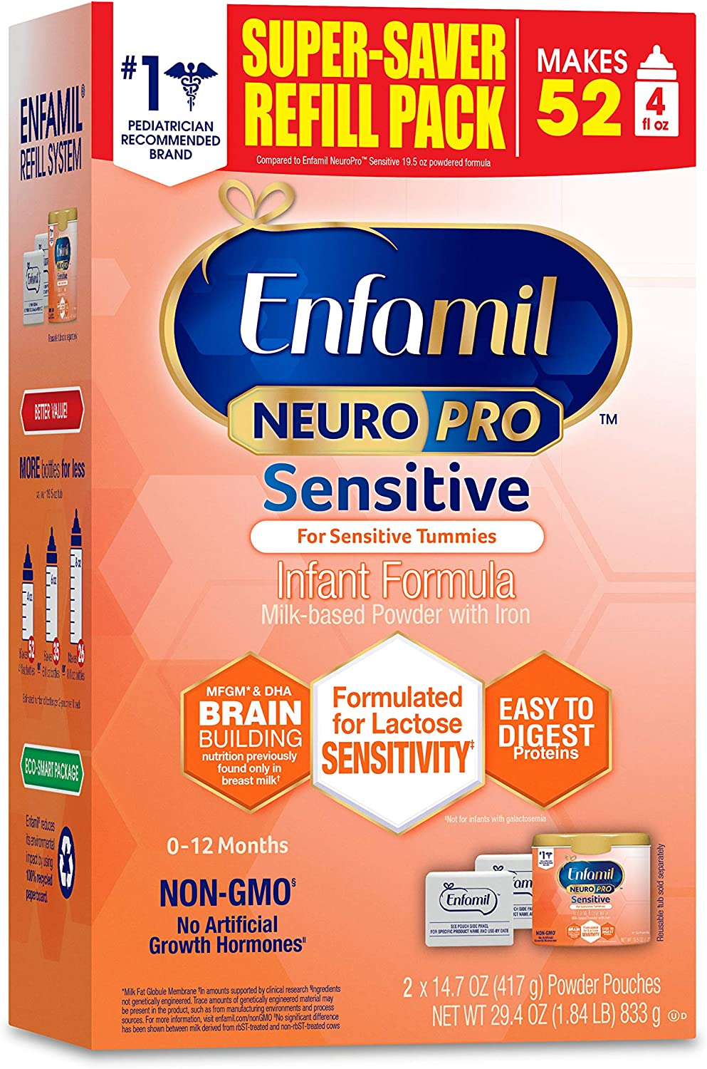Enfamil NeuroPro Sensitive Baby Formula Gentle Milk Powder Refill, 29.4 Ounce - Omega 3 DHA, Probiotics, Immune Support