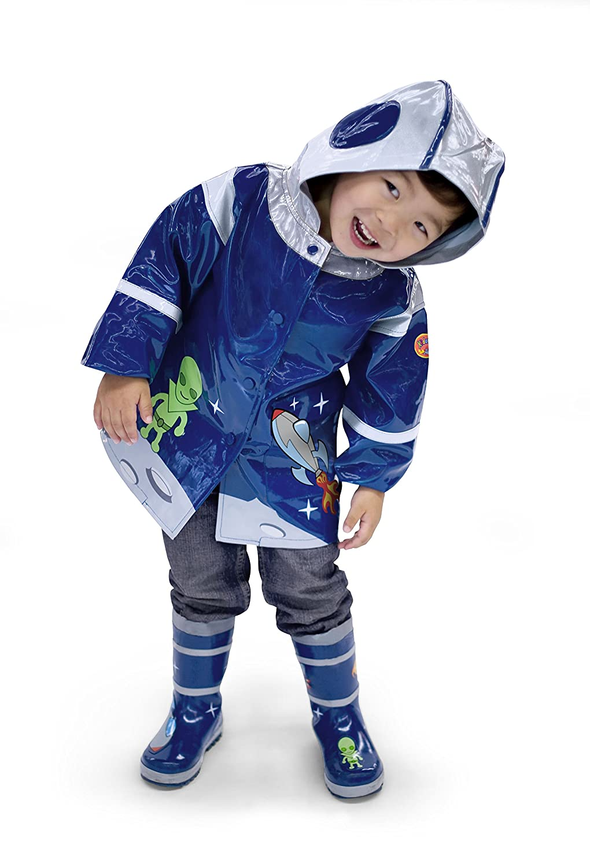 Astronaut Raumfahrer F/ür Jungen und M/ädchen Regenmantel Weltraum Kidorable Original Kinder Alle Wetter Wasserfeste Regenjacke