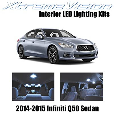 Xtremevision Interior LED for Infiniti Q50 Sedan 2014-2015 (10 Pieces) Cool White Interior LED Kit + Installation Tool: Automotive