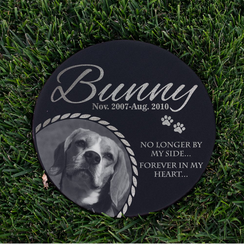 Lara Laser Works Personalized Dog Memorial with Photo Free Engraving MDL3 Customized Grave Marker | 12'' Round