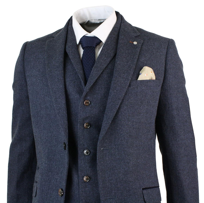 db21071bb406 Amazon.com  Cavani Mens 3 Piece Wool Blend Herringbone Tweed Suit Blue  Brown Vintage Tailored Fit Navy 36  Clothing
