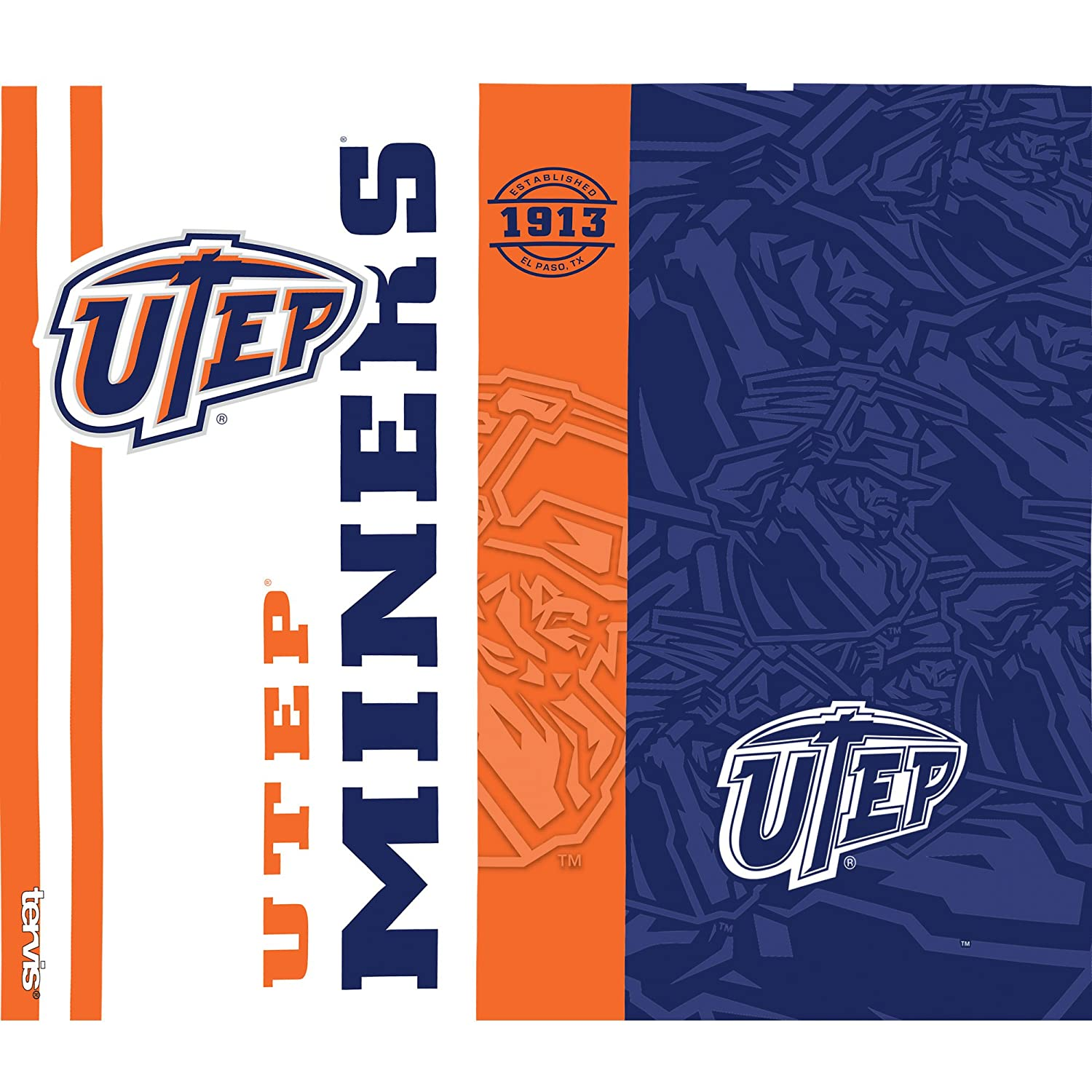 Tervis 1229699 UTEP Miners College Pride Tumbler with Wrap and Navy with Gray Lid 24oz Water Bottle Clear