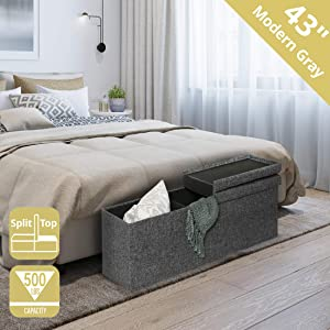 "Seville Classics WEB594 43"" Foldable Tufted Lift Top Storage Bench Ottoman Footrest Coffee Table Trunk, Single, Charcoal Gray"