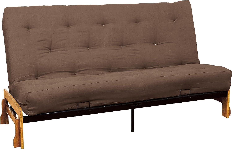 Suede Mocha Brown Full Au Natural 8  Loft All Cotton Filled Futon Mattress, Twin-size, Twill Black Mattress color