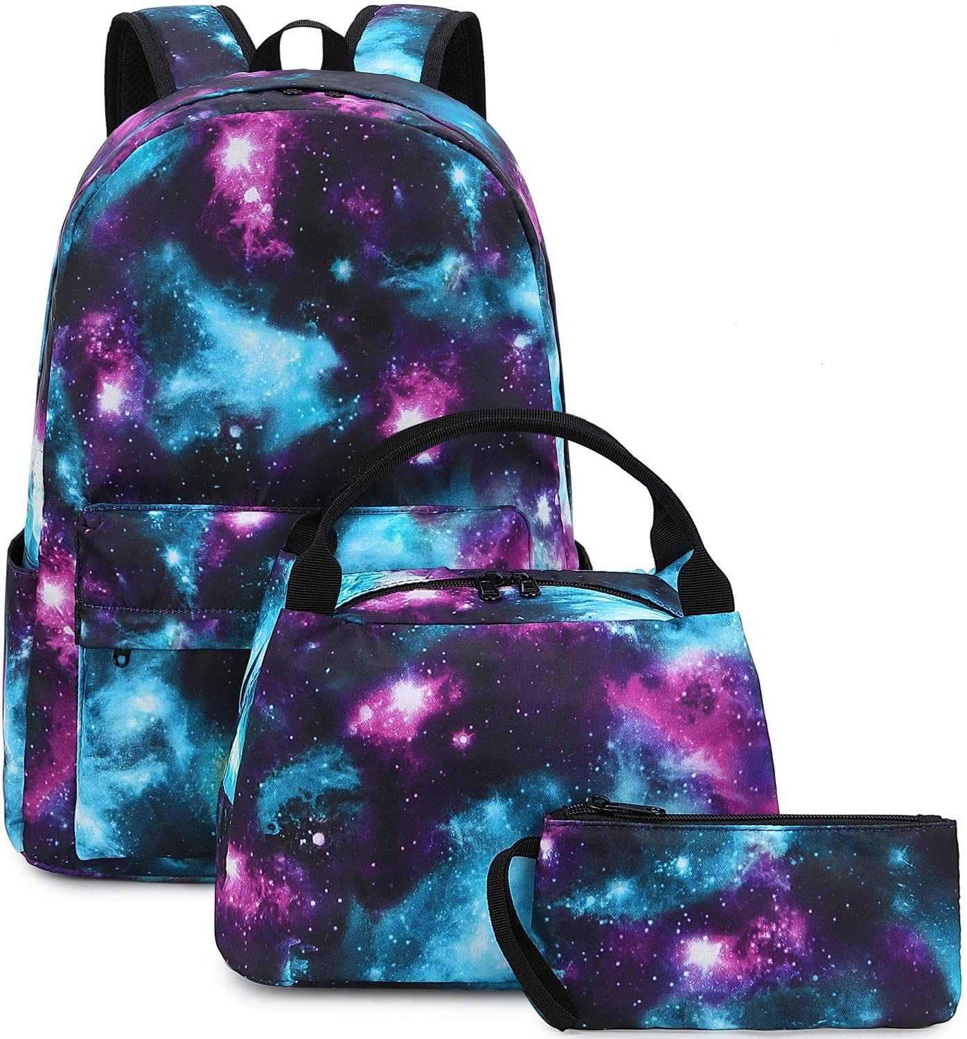 School Backpacks for Teen Girls Galaxy Backpack and Lunchbox Set for Kids Laptop Book Bag (Y0060-3/Galaxy Blue)