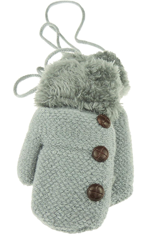 Glamour Girlz Baby Boys Warm Fleece Lined Winter Tweedy Button Trim Snow Mittens 1-3 Years Navy Cream