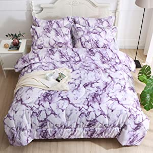 Litanika Purple Marble Comforter King(104x90lnch), 3 Pieces(1 Marble Comforter and 2 Pillowcases) Soft Microfiber Comforter Bedding Set for Men and Women