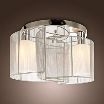 LightInTheBox 2 Light Semi Flush Mount Ceiling Light Fixture With Fabric  Shade And Cloth Cover,