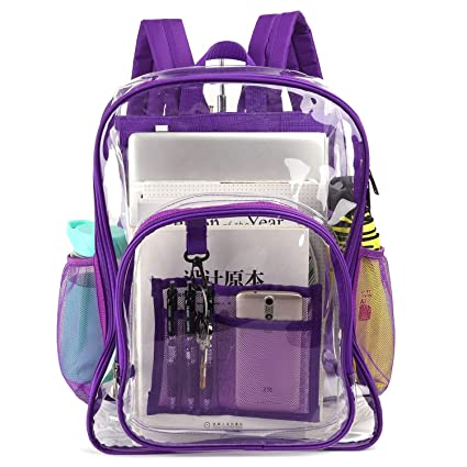 fc81407e7513 Xcharmer Store Clear Backpack,Heavy Duty Clear Backpack,Transparent Large  Bookbag for College, Work, Security Travel and Sports (Purple)
