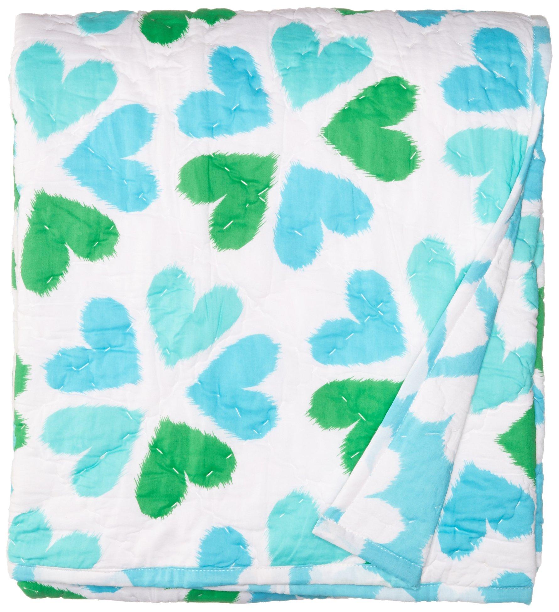 Masala Baby Baby Mokshareversible Quilt, Flower Heart Turquoise, 40x60 by Masala Baby