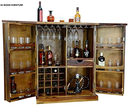 SS WOOD Furniture Wooden Stylish Brown Bar Cabinet with Wine Glass Storage | Teak Finish