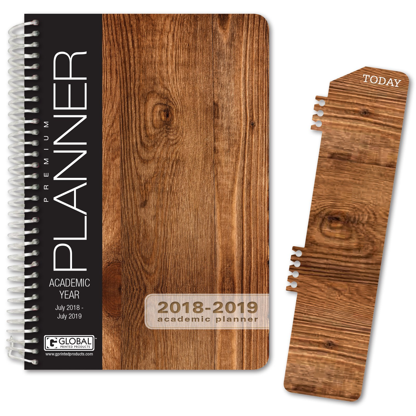 HARDCOVER Academic Year Planner 2018-2019 - 5.5''x8'' Daily Planner / Weekly Planner / Monthly Planner / Yearly Agenda. Bonus BOOKMARK (Woodgrain)