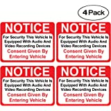 """(4 Pack) Notice Vehicle is Equipped with Audio and Video Recording Devices Consent by Entering Sticker - Self Adhesive"""" 2½ X 3½"""" 4 Mil Vinyl Decal — Indoor & Outdoor Use — UV Protected & Waterproof"""