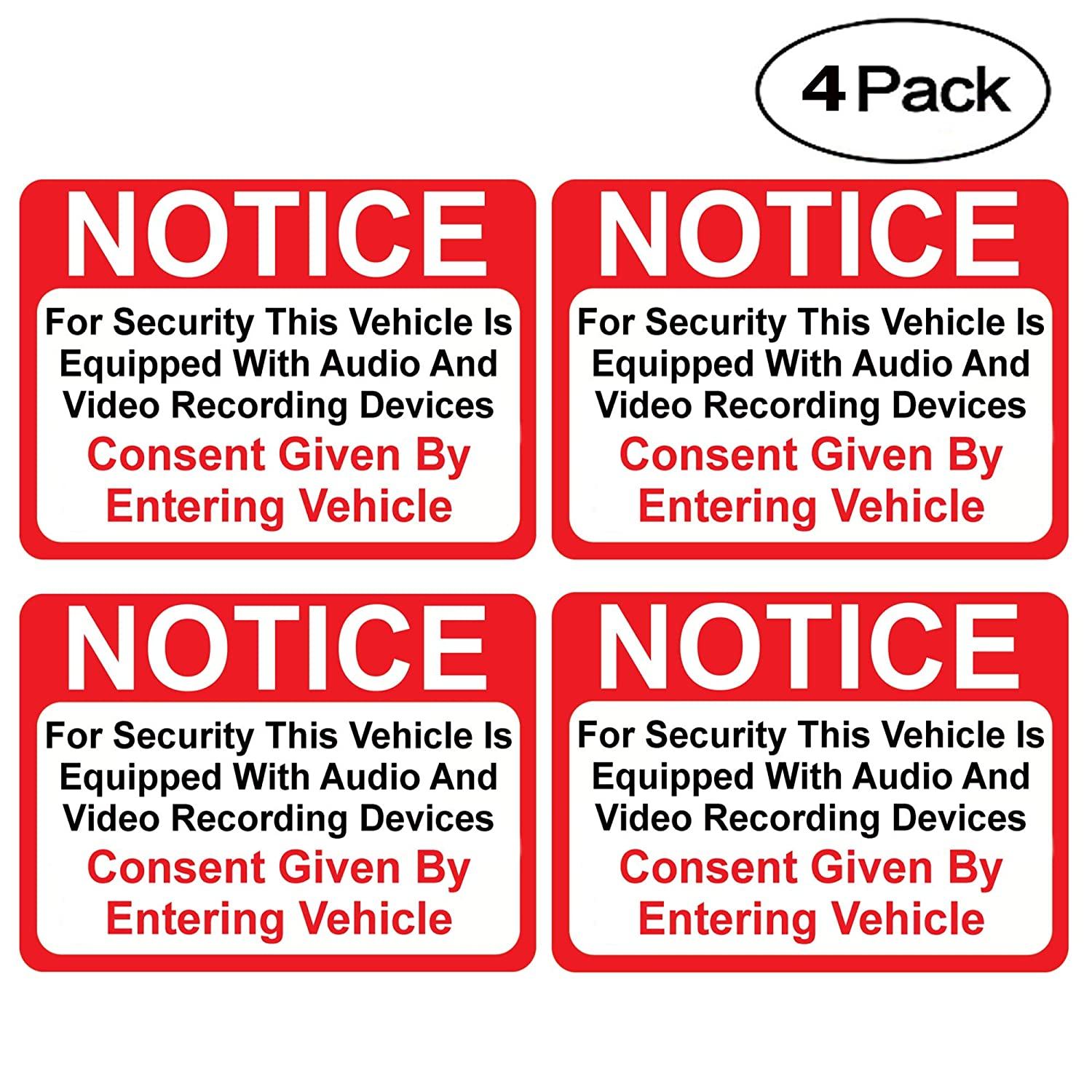 "(4 Pack) Notice Vehicle ist Equipped mit Audio und Video Recording Devices Consent durch Entering Sticker - selbst Adhesive 2&Frac12; X 3&Frac12;"" 4 Mil Vinyl Decal &Mdash; Indoor & Outdoor Verwendung &Mdash; Uv Protected & Waterproof &Mdash;"