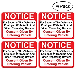 """(4 Pack) Notice Vehicle is Equipped with Audio and Video Recording Devices Consent by Entering Sticker - Self Adhesive 2½ X 3½"""" 4 Mil Vinyl Decal — Indoor & Outdoor Use — UV Protected & Waterproof —"""
