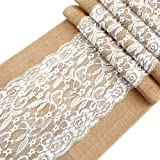 OurWarm Vintage Lace Hessian Burlap Table Runner 12 x 42 Inch Natural Jute Country Wedding Party Decoration