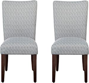 HomePop Parsons Classic Upholstered Accent Dining Chair, Set of 2, Shades Blue